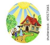 funny children illustration... | Shutterstock .eps vector #693171661