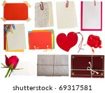 collection of notes, tags... - stock photo
