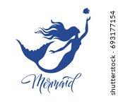 mermaid  silhouette  hand drawn ... | Shutterstock .eps vector #693177154