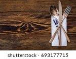spoon knife fork on old wooden... | Shutterstock . vector #693177715
