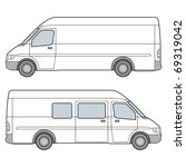 side view of white minibus.... | Shutterstock .eps vector #69319042