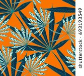 bright exotic leaves. seamless... | Shutterstock .eps vector #693193549