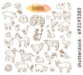 hand drawn farm elements.... | Shutterstock . vector #693195385