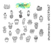 hand drawn succulent plants... | Shutterstock . vector #693195667