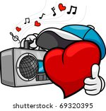 Illustration of a Heart Doing a Thumbs Up While Listening to Music - stock vector
