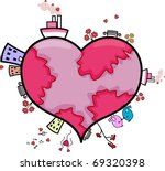 Illustration of a Heart-shaped World - stock vector