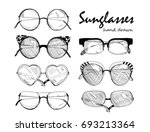 hand drawn sunglasses. graphic... | Shutterstock .eps vector #693213364