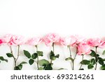 pink roses on white background. ...   Shutterstock . vector #693214261