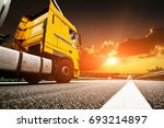 fast truck on the highway on... | Shutterstock . vector #693214897