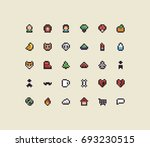 set of 30 tiny pixel art icons | Shutterstock .eps vector #693230515