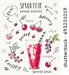 hand drawn smoothie glass with... | Shutterstock .eps vector #693231019