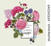 vector vintage floral greeting...   Shutterstock .eps vector #693242569