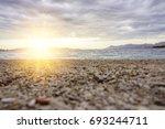 panorama of beautiful sunset on ... | Shutterstock . vector #693244711
