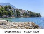 brela  croatia   6 july 2017 ... | Shutterstock . vector #693244825