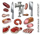 set meat products and kitchen... | Shutterstock .eps vector #693252637