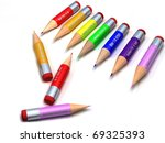 color pencils on a white. 3d... | Shutterstock . vector #69325393