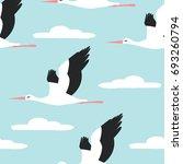 flying in the sky stork bird...   Shutterstock .eps vector #693260794