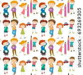 seamless school kids background | Shutterstock .eps vector #693269305