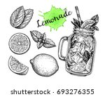 lemonade and ingredients. retro ... | Shutterstock .eps vector #693276355