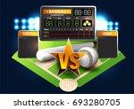 baseball diamond and baseball...   Shutterstock .eps vector #693280705