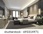 Stock photo  d rendering luxury modern bedroom suite in hotel 693314971