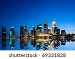 Singapore City At Sunset With...