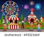 people worker in the amusement... | Shutterstock . vector #693321664