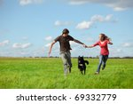 young happy pair running on... | Shutterstock . vector #69332779