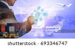 businessman is pressing button... | Shutterstock . vector #693346747