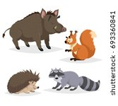 forest animals set. raccoon ... | Shutterstock .eps vector #693360841