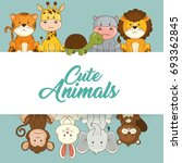 cute animals baby shower card | Shutterstock .eps vector #693362845