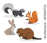 forest animals set. skunk ... | Shutterstock .eps vector #693363721