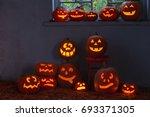 halloween pumpkins indoor | Shutterstock . vector #693371305