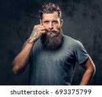 brutal bearded male with... | Shutterstock . vector #693375799