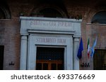 Small photo of Rome, Italy - August 6, 2017: The Istituto Autonomo Case Popolari entrance. The IACP is an Italian institution, now dissolved, managing public buildings aimed to the people with money problems