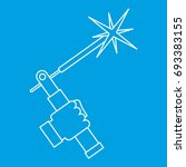 welding torch icon blue outline ... | Shutterstock .eps vector #693383155