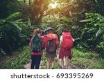 group of people hiking and...   Shutterstock . vector #693395269