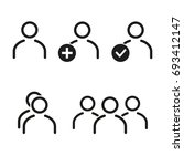 people vector icons set. black... | Shutterstock .eps vector #693412147