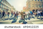 crowd of anonymous people... | Shutterstock . vector #693412225