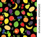 fruits colorful seamless... | Shutterstock . vector #693416161