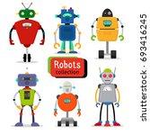 cute cartoon robots set on... | Shutterstock . vector #693416245