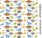 dinosaur seamless pattern on... | Shutterstock . vector #693416881