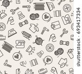 sewing pattern with linear... | Shutterstock . vector #693417334