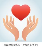 hand holding the heart vector | Shutterstock .eps vector #693417544