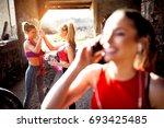 joyful group of sporty women... | Shutterstock . vector #693425485