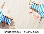 top view of sand in studio with ... | Shutterstock . vector #693425521