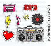 pop art stickers with tape... | Shutterstock .eps vector #693434245