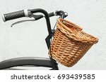 Bicycle With Wicker Basket On...