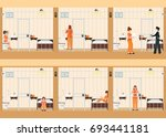rows of prison cells with life... | Shutterstock .eps vector #693441181