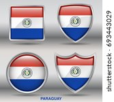 flag of paraguay in 4 shapes... | Shutterstock .eps vector #693443029